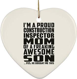 Proud Construction Inspector Mom of Awesome Son - Heart Ornament Decorazione Natalizia A Cuore Ceramica - Regalo per Compleanno Anniversario Festa della Mamma del papà Pasqua