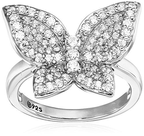Platinum-Plated Sterling Silver Swarovski Zirconia whimsical Butterfly Ring, Size (Swarovski Butterfly Ring)