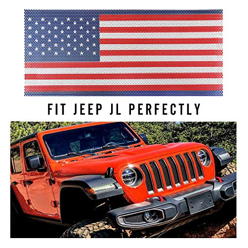 (Seven Sparta Front Grill Insert for Jeep JL Flag Mesh Grill Insert, Blue and)