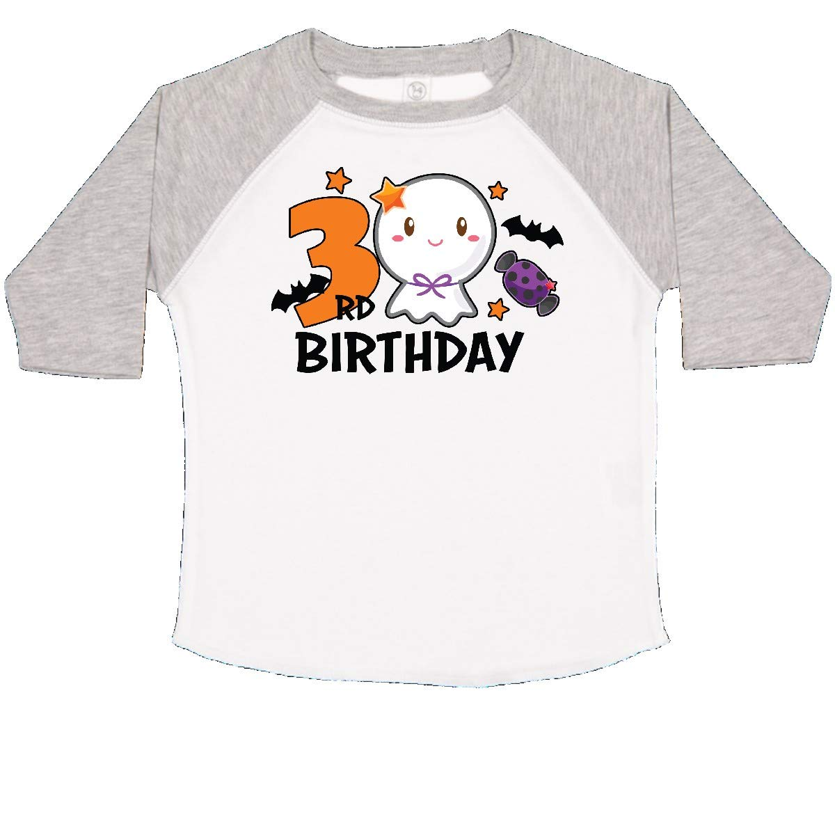 inktastic 3rd Birthday with Cute Ghost and Bat Toddler T-Shirt