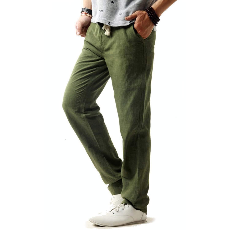 Time Vitality Coast 5XL Linen Pants Summer Breathable Slim Male Hemp Cotton Casual Pants