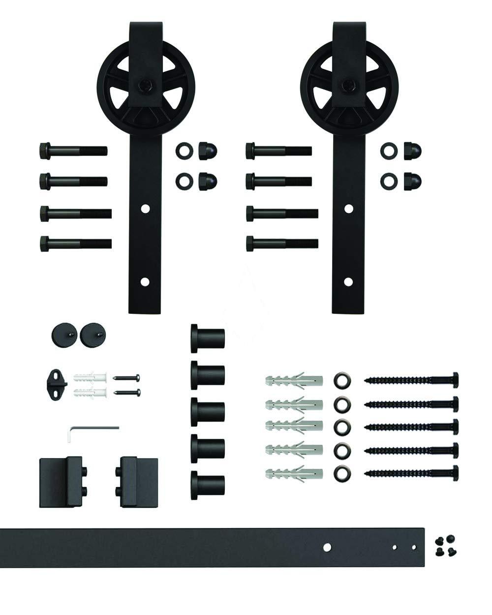 komplettes Set mit Laufrollen und Schiene 2 Meter Schiebet/ürsystem Speichenrad Schiebet/ürsystem Speichenrad 200 cm