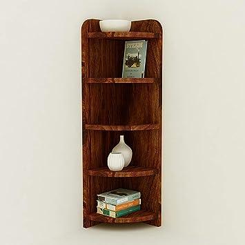 Corazzin Wood Sheesham Wood 5 Tier Corner Wall Shelf for Living Room |  Wooden Corner Shelves | Teak Brown Finish