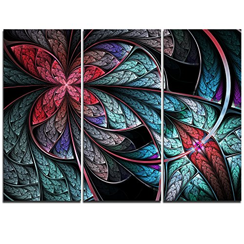 urquoise & Red Fractal Flower Pattern - Modern Floral Canvas Wall Art