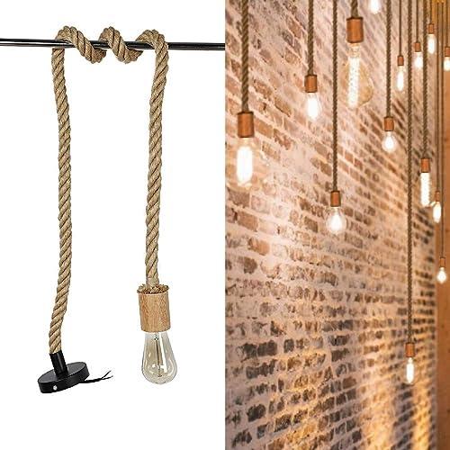 Arturesthome Wood Pendant Light Cord Kit,Vintage 59 Twisted Hemp Rope Plug in Hanging Light Kit, Industrial Pendant Lighting E26 E27 Lamp Socket,Extension Hanging Lantern Cable for Retro DIY Project