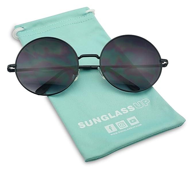 69ddbc41b9 XL Oversized Round Circle Dark Black Gradient Hippie Hipster Sunglasses - Metal  Frame (Black