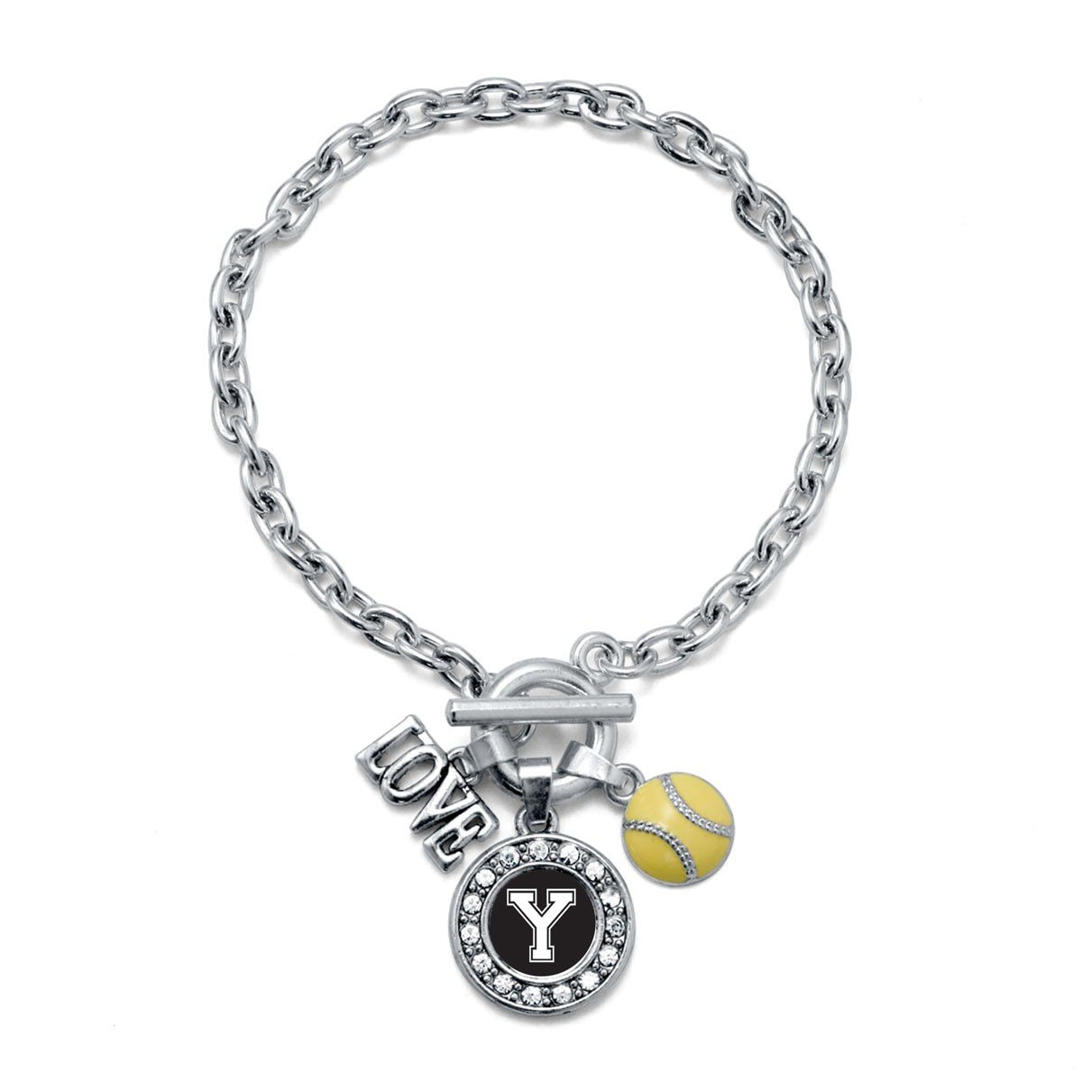 Inspired Silver My Sports Initial Circle Charm Softball Toggle Charm Bracelet Letter Y