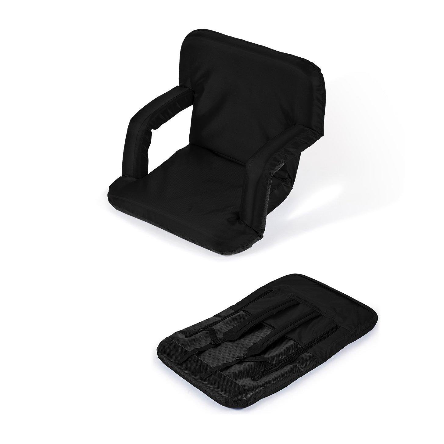 Portable Multiuse Adjustable Recliner Stadium Seat by Trademark Innovations (Black)