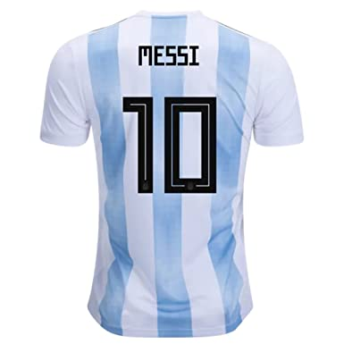 4d6be123c5a Goldenhetai 2018 World Cup Soccer Team Argentina Messi 10 Men s Home Jersey  Color White Blue