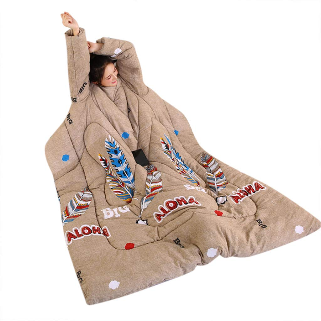 WaiiMak Lazy Quilt with Sleeve Blankets,Winter Warm Thickened Washed Quilt Blanket, 150 x 200cm (E)