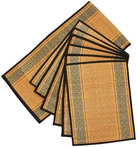 SouvNear Weekend Sale Set of 6 Woven Placemats and a Table Runner for Dining/Kitchen - Natural Placemat Set Handmade with Orange, Black Darbha Grass Straws & Threads]()