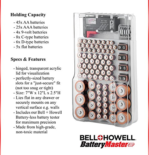 Buy battery storage organizer with tester