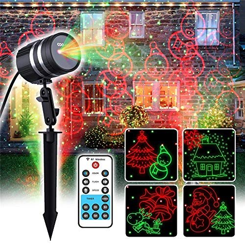 Laser Christmas Light Projector, 8 Christmas Patterns +Red&Green Laser Light Star Show with RF Remote Control for Outdoor & Indoor Halloween, Thanksgiving, Christmas -