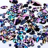 Bolsa de 15 g de aproximadamente 300 piezas de diamantes de imitación acrílicos con parte trasera plana, diferentes formas y tamaños, multicolor, decoración de cara, gemas, accesorios de ropa, 09 black AB, Mixed Sizes, 1