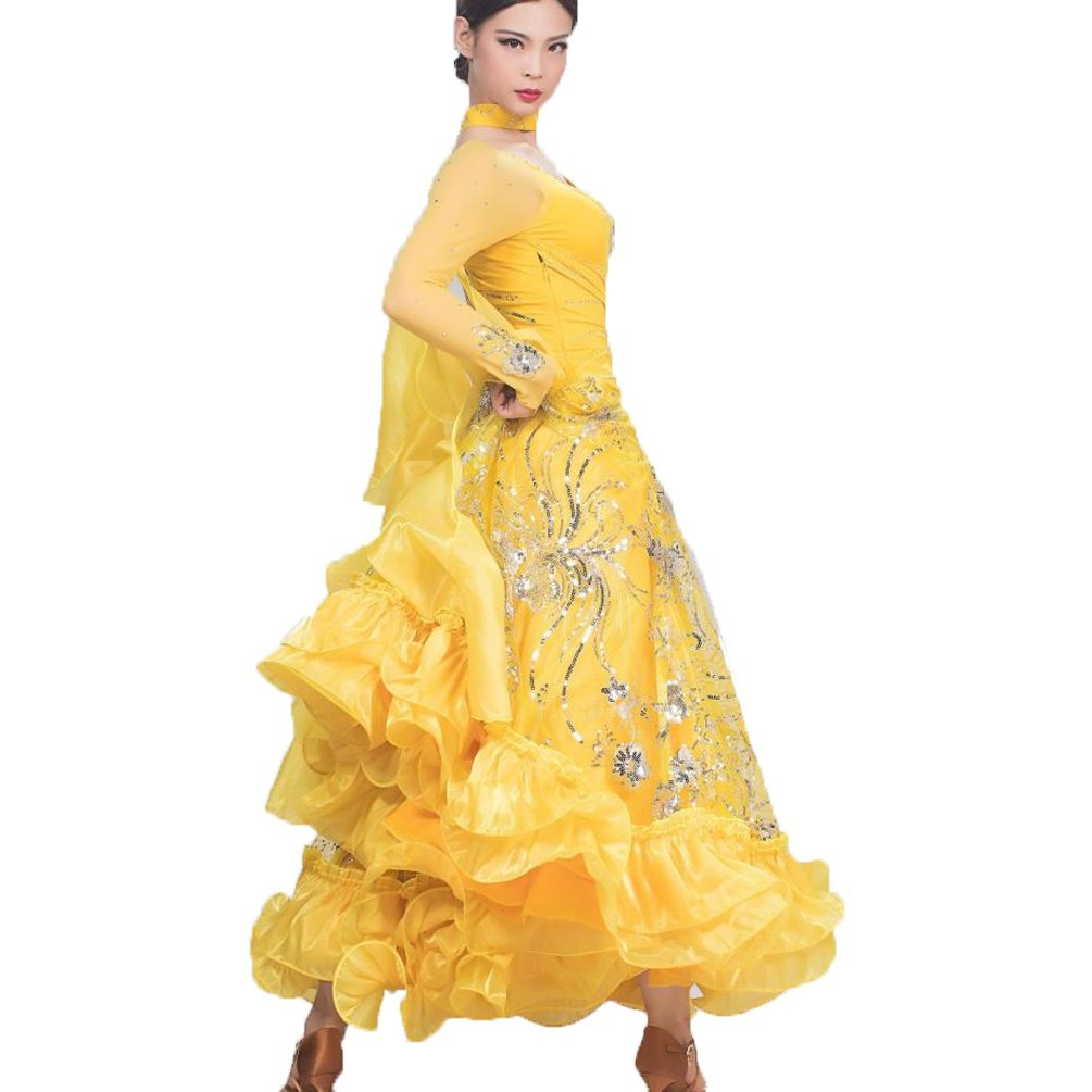 YELLOW-L WQWLF Luxurious Ballroom Dance Dress For Women Competition Performance Tulle Sequin Embroidered Modern Waltz Dancewear Great Swing