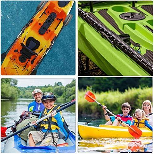 MOONJESSI Universal Kayak Paddle Holder Clip 4 Pcs Adjustable Safety Paddle Leashes with Hardware Universal Kayak Accessories