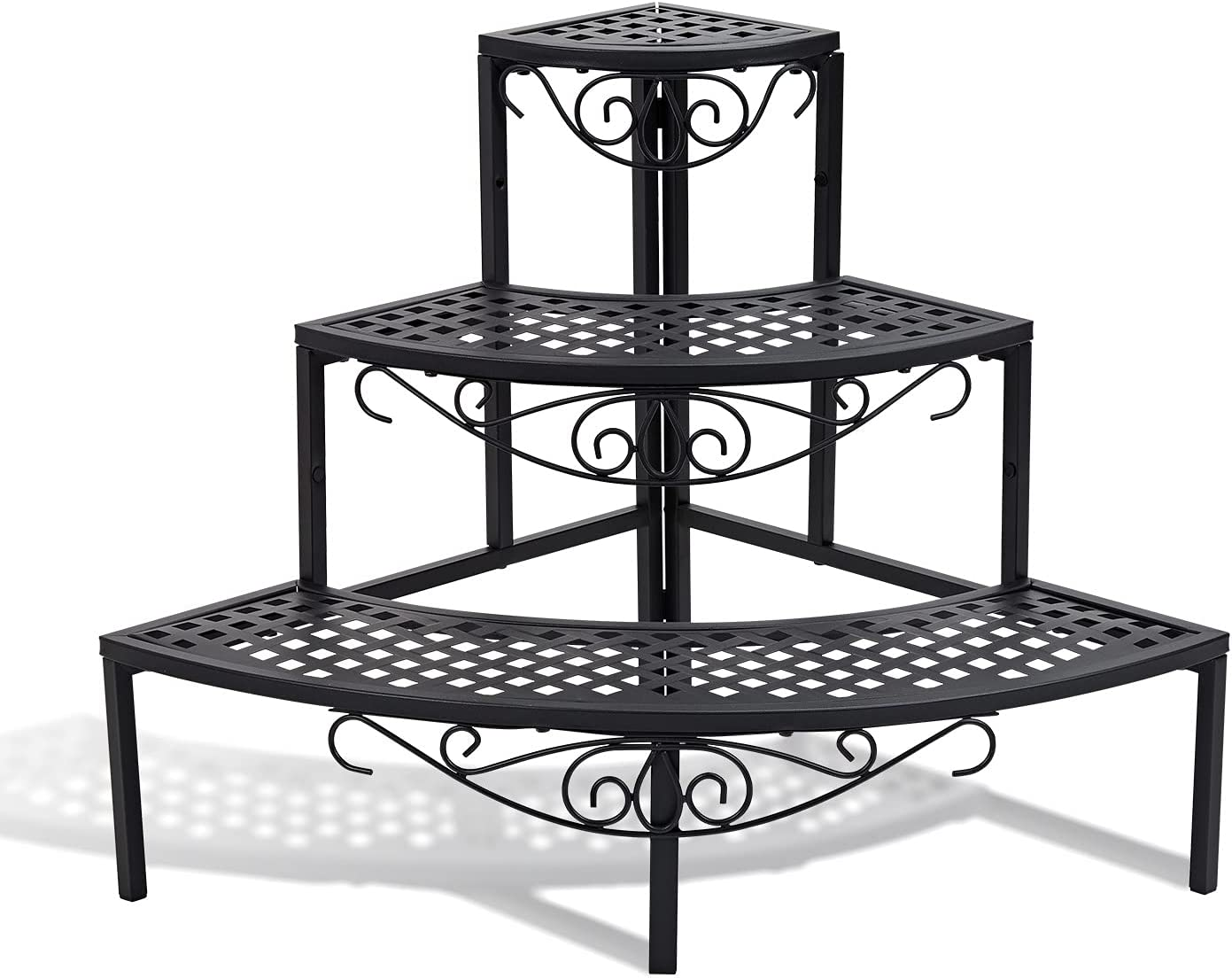 3 Tier Metal Plant Stand,Rectangle or Round Decorative Flower Step,Garden Shelf Flower Pot Holder Storage Organizer Rack for Indoor Outdoor Use (23.6