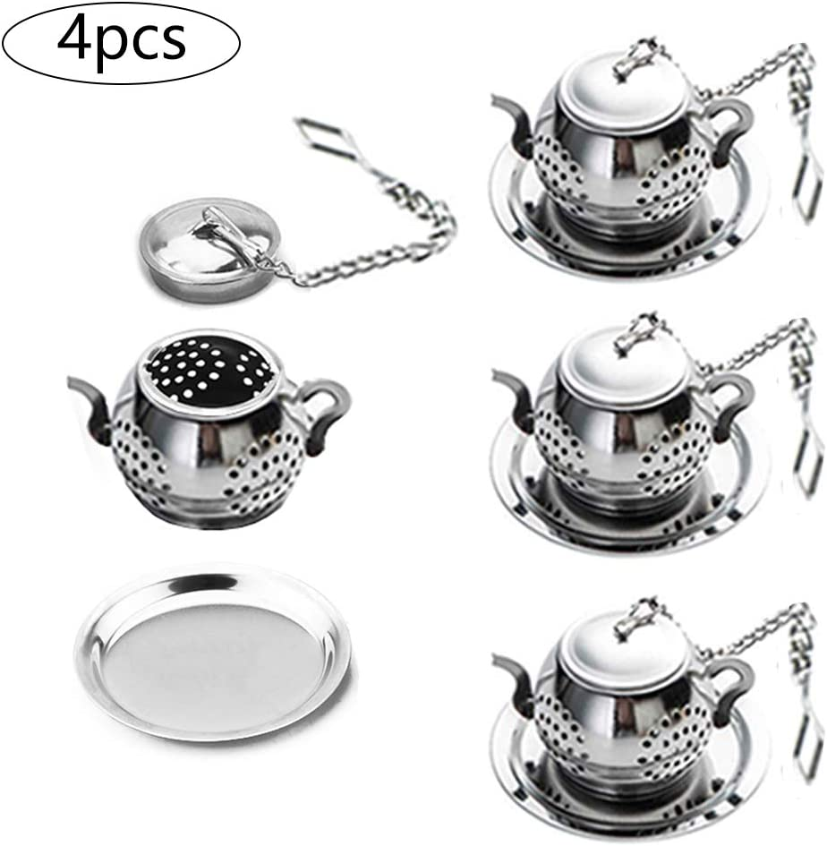 Tea Infuser Ball Tea Strainer Cup Set Stainless Steel Extra Fine Mesh Tea Strainer and Lid Tea Infuser Cup Travel Kit for Hanging on Teapots,Mugs,Cups to Steep Loose Leaf Tea and Coffee,Office Home