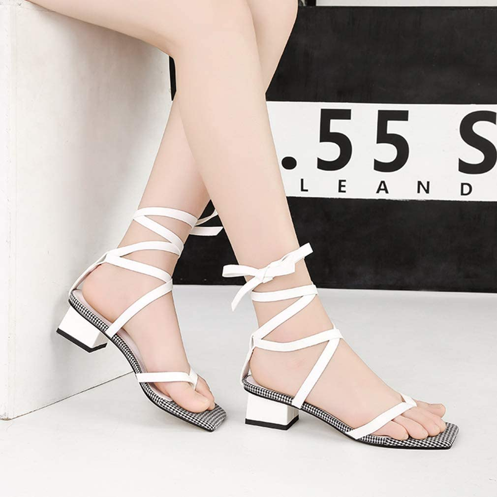 YXB Women Sandals Buckle Ankle Strap Dress Shoes Ladies Flip Flops Casual Summer Shoes Wedding Party Evening,White,37