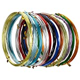 12 Rolls Multi-Colored Aluminum Craft Wire, Flexible Metal Wire for Jewelry Making and Various Crafts, Each Roll 16.4 Feet (20 Gauge)