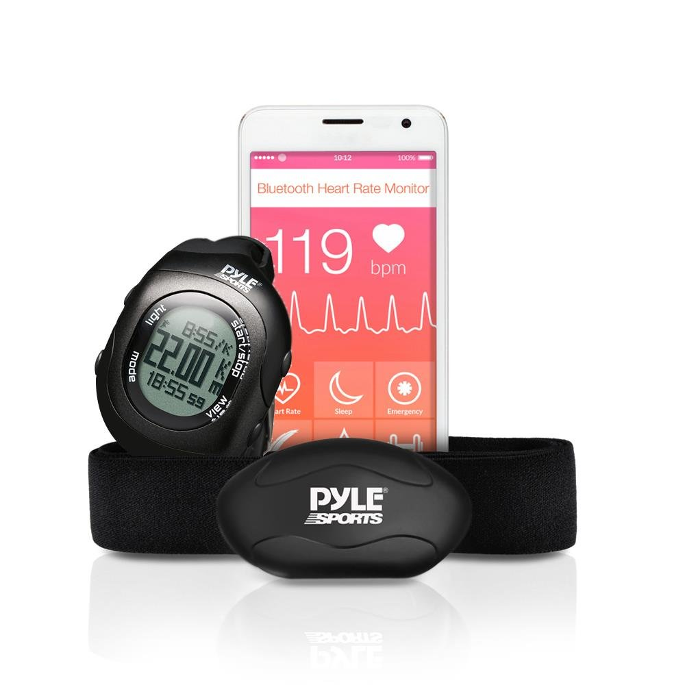 Upgraded Version Pyle Fitness Heart Rate Monitor with Digital Wrist Watch & Chest Strap | Wireless Bluetooth | Measures Speed, Distance, Countdown & Lap Times for Walking, Running, Jogging, Exercise