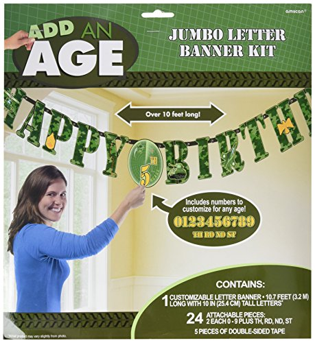 Amscan Adventurous Jumbo Add-An-Age Letter Banner (1 Piece), Camouflage Green, 2 1/4