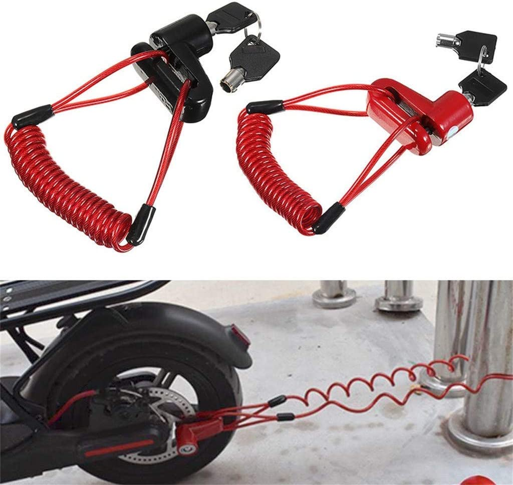 Anti-Theft Steel Wire Lock Disc Brake Wheel Lock Set Scooter with Reminder Rope