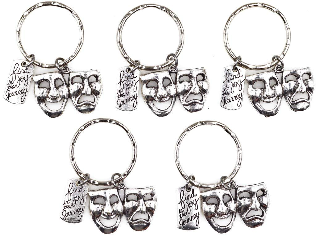 Find Joy in The Journey Comedy Tragedy Mask Theatre Actor Actress Inspirational Broadway Musical Drama Teacher Gift Keychain 112X