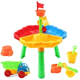 Dearbuy Sand and Water Play Table 2 in 1 Sandpit Garden Beach Set Toy with Accesories (Color A)