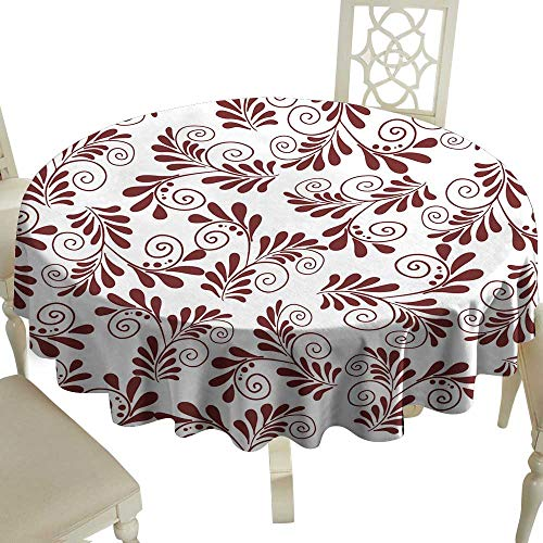 WinfreyDecor Decorative Textured Fabric Tablecloth Seamless Pattern with Flowers and Plants of red Color Wallpaper for Print Great for Buffet Table D63