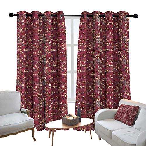 Blackout Curtains Leaves,Foliage Silhouette Pattern Abstract Nature Illustration Coming of The Spring Theme, Multicolor,Thermal Insulated Panels Home Décor Window Draperies for Bedroom 52