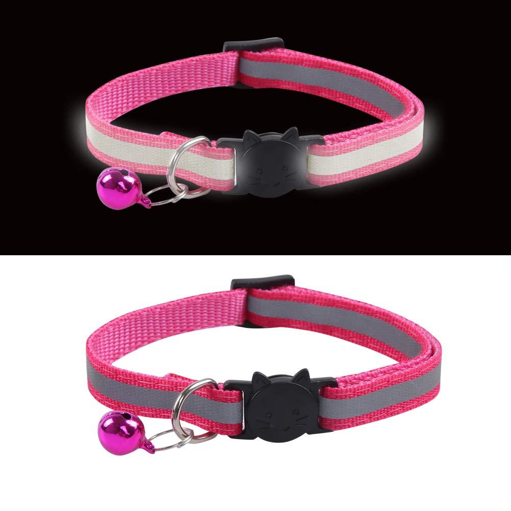 KZHAREEN Reflective Nylon Breakaway Cat Collars Bell Adjustable Small Pet Dog Puppies 12pcs//Set