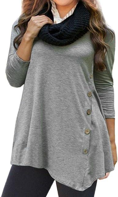 S-6XL talla grande Mujer manga larga botón sólido cuello redondo túnica camiseta tops, Yannerr primavera suelta casual Suéter chaqueta deportiva sudadera blusa camisa mono traje ropa (L6, Gris): Amazon.es: Ropa y accesorios