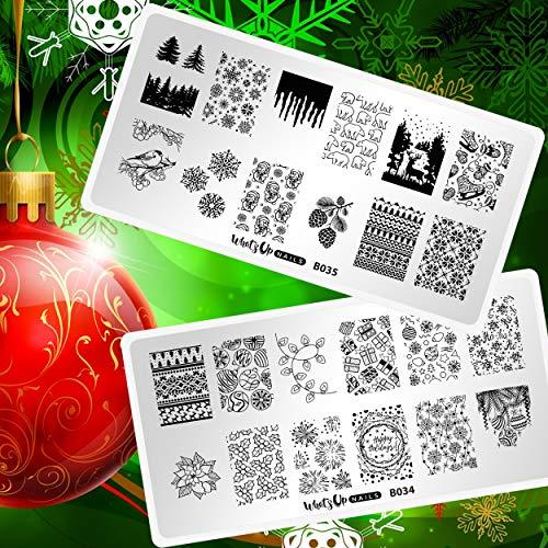 Whats Up Nails - Christmas New Year Winter Nail Stamping Plates (B034, B035) for Nail Art Design