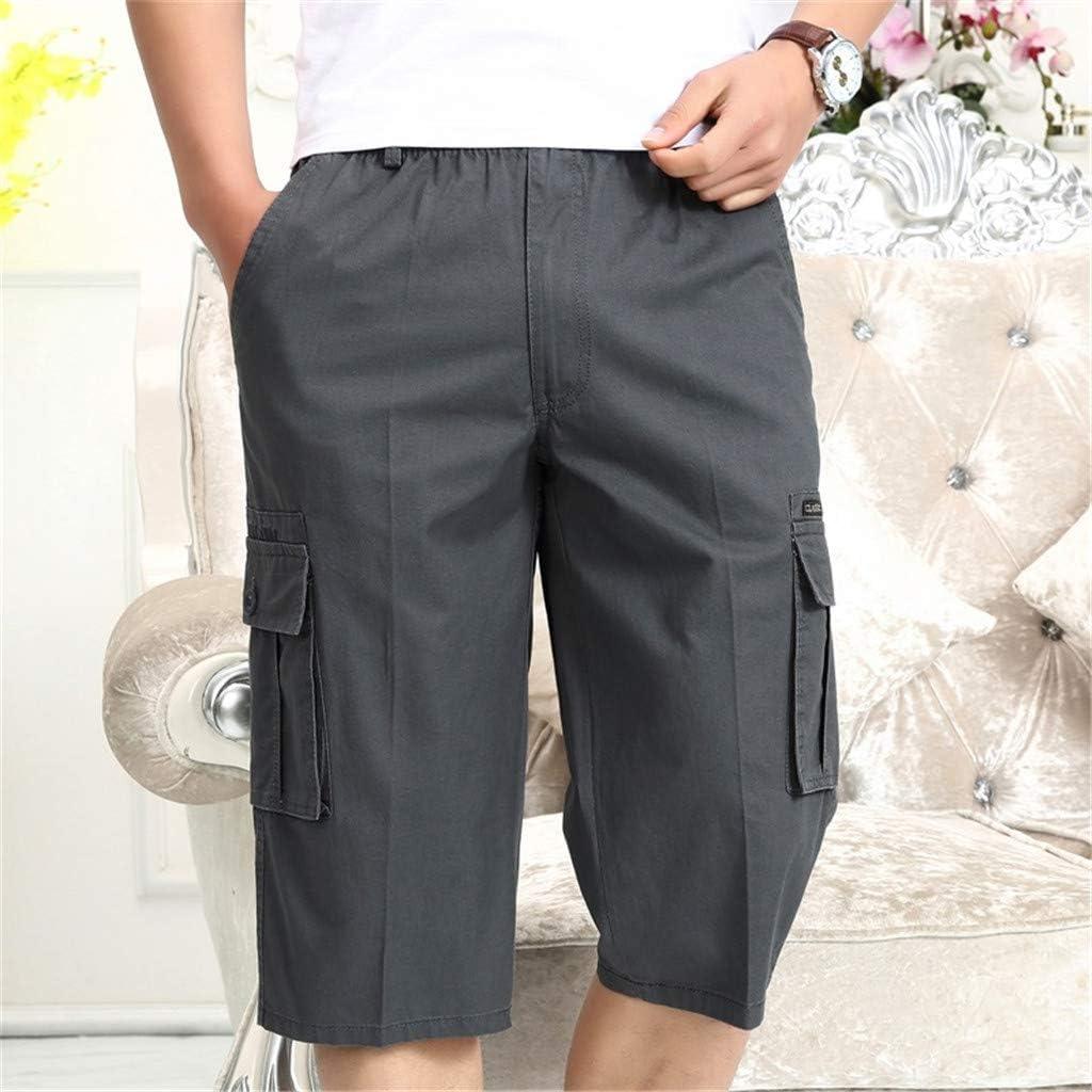 Dainzusyful Mens Cargo Short Casual Elastic Cotton Pants with Drawstring Multi Pocket Workout Shorts 3//4 Capri Pants