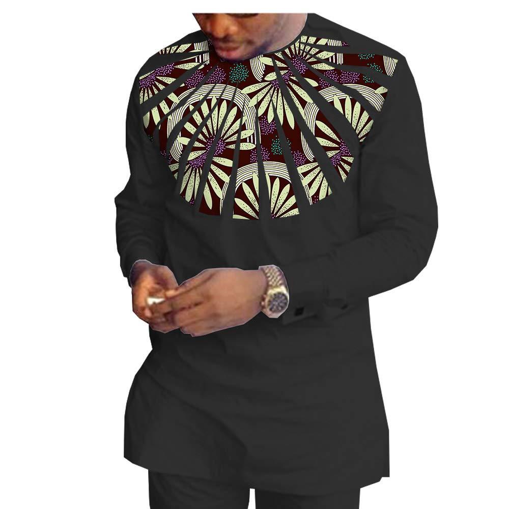 African Ankara Print Men Set Full Sleeve Top with Appliques and Full Length Pants 100/% Batik Cotton Made AA1816010