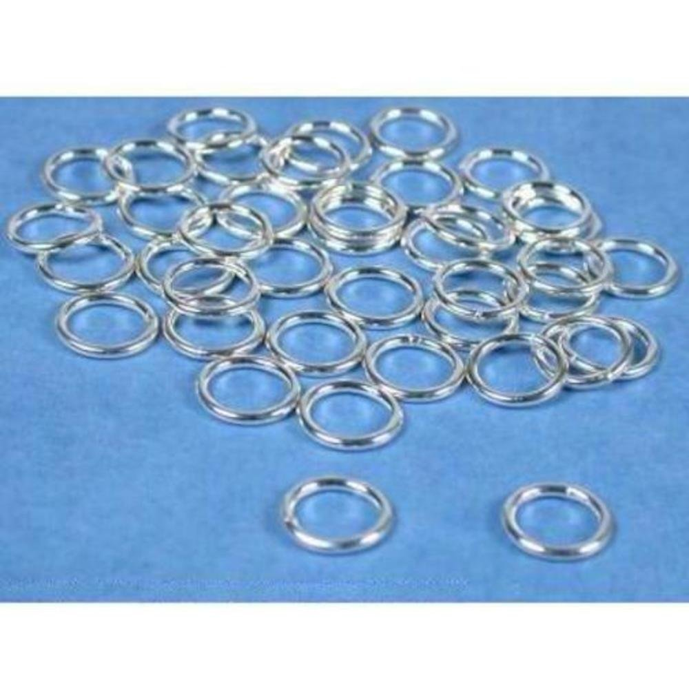 40 Jump Rings Closed Sterling Silver Jewelry 18 Ga 8mm by FindingKing (Image #1)
