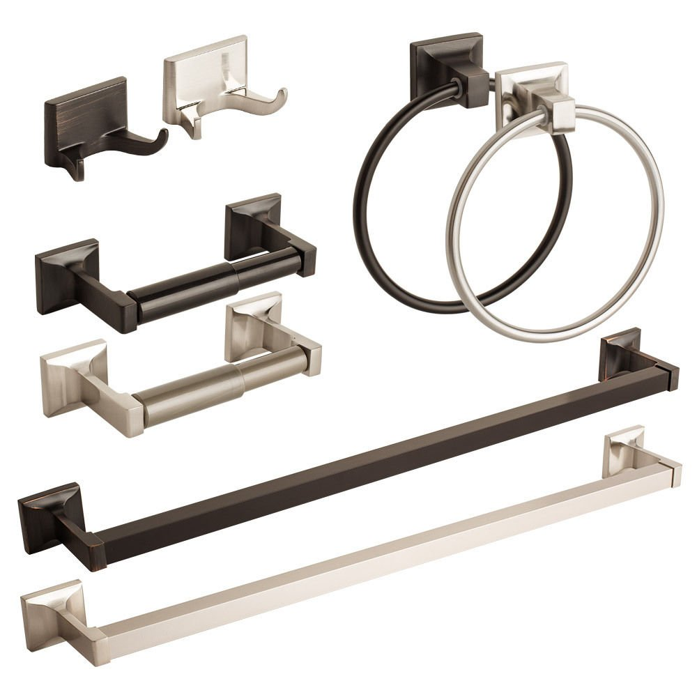 Modern Bath Accessories Set Bathroom Hardware Towel Bar Ring Toilet Paper Holder