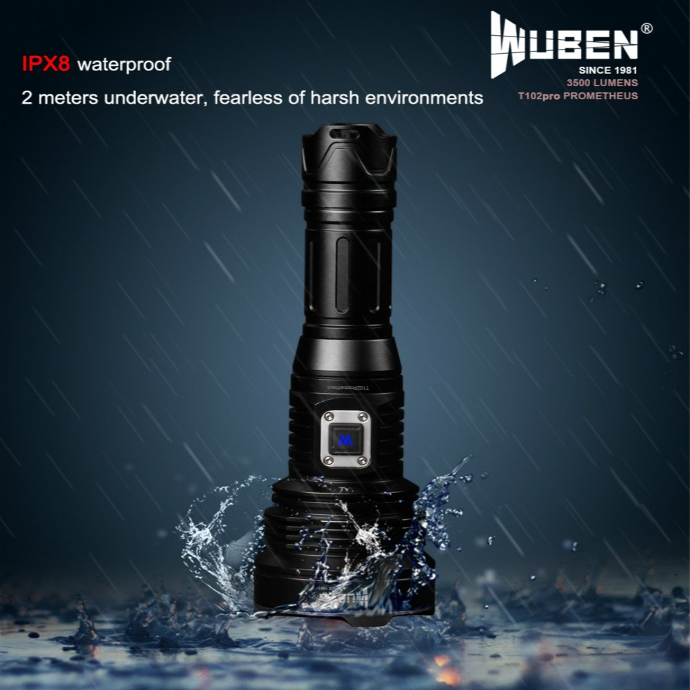 WUBEN T102pro Prometheus 3500 Lumens Flashlight with power indicator high drain battery 26650 by WUBEN (Image #4)