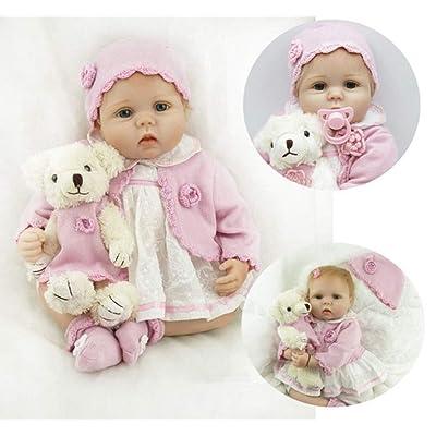 LIDE 22 Pulgadas 55 cm Reborn Bebé Muñecos Ojos Abiertos Niña Niños Navidad Regalo Juguetes Recien Nacido Baby Dolls Suave Silicona Vinilo Magnética: Juguetes y juegos