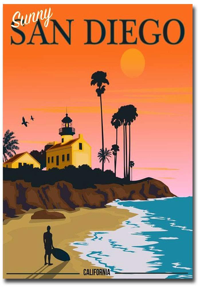 "Sunny San Diego Vintage Travel Art Refrigerator Magnet Size 2.5"" x 3.5"""