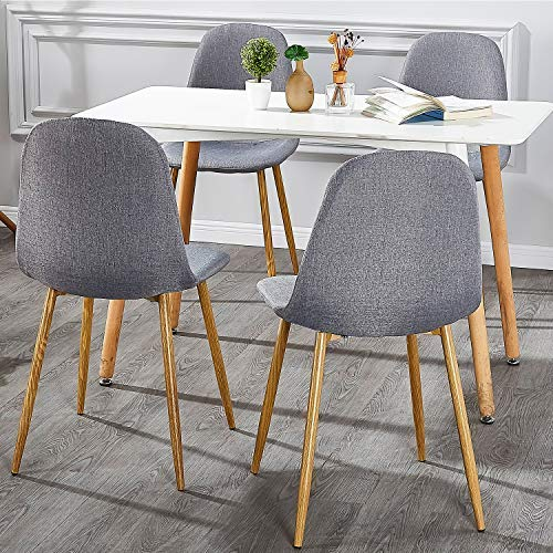 VECELO Dining Chairs for Kitchen/Dining/Living/Lounge Room, Fabric Cushion Seat Back Sturdy Metal Legs, Set of 4,Grey by VECELO (Image #6)