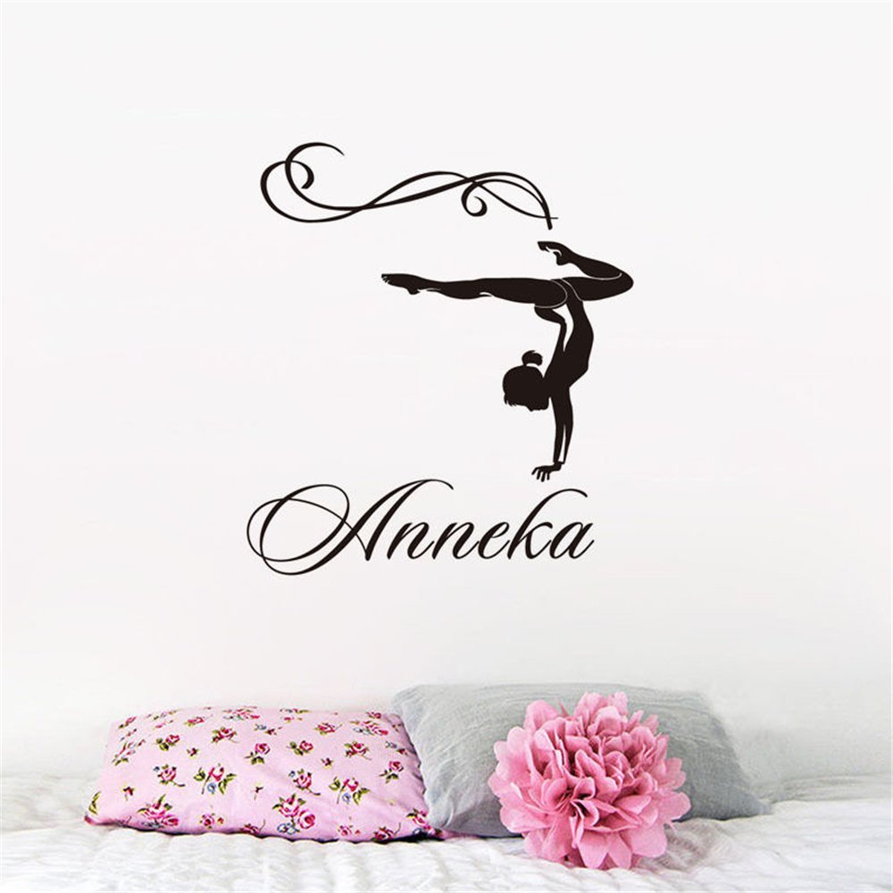 gymnast custom name wall decal decor removable wallpaper stickers girls room art