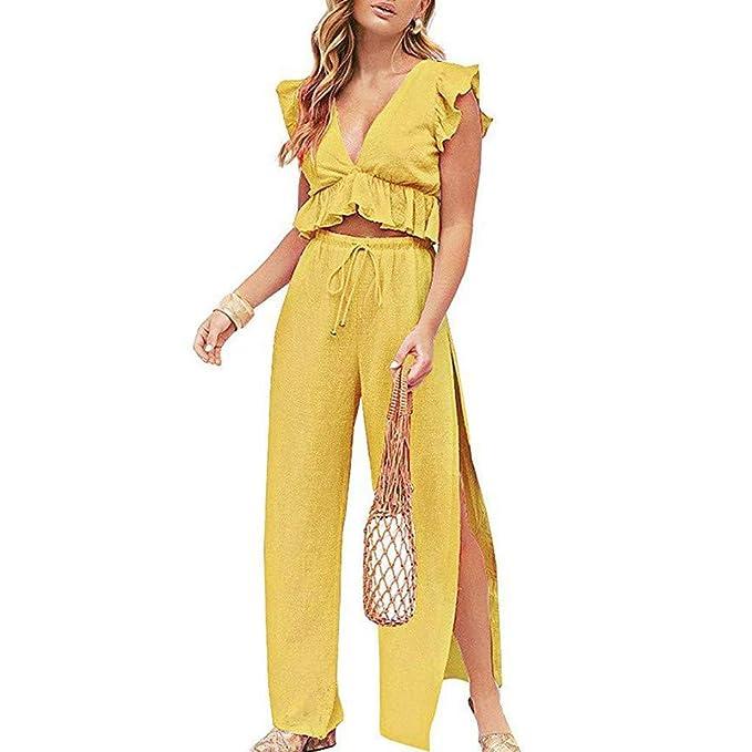 39995a4df Mymyguoe Tops sin Mangas para Mujer Pantalones Casuales Sueltos ...
