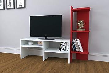Emir - Mueble para TV, Color Blanco y Rojo: Amazon.es: Electrónica