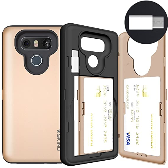 LG G6 Case, LG G6 Card Case, SKINU [USB Type C] [Gold] [Shockproof] [Dual  Layer] [Card Slot] [Drop Protection] [Wallet] with Mirror and Adapter and