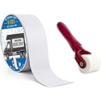 """E-sds RV Roof Sealant Tape 2"""" x50' with Rubber Roller, UV & Waterproof White RV Seal Tape for RV Roof Repair, Window…"""
