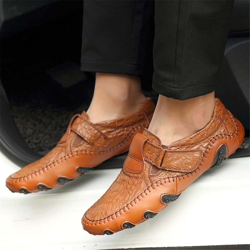 yan yan yan Men's Shoes Leather Loafer Flats Moccasins Boat Slippers Driving Shoes Magic Tape Decoration Spring & Fall B07G5T8L51 Loafers & SlipShoesOns 3cc627