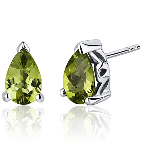 1.50 Carats Peridot Pear Shape Basket Style Stud Earrings in Sterling Silver Rhodium Nickel Finish
