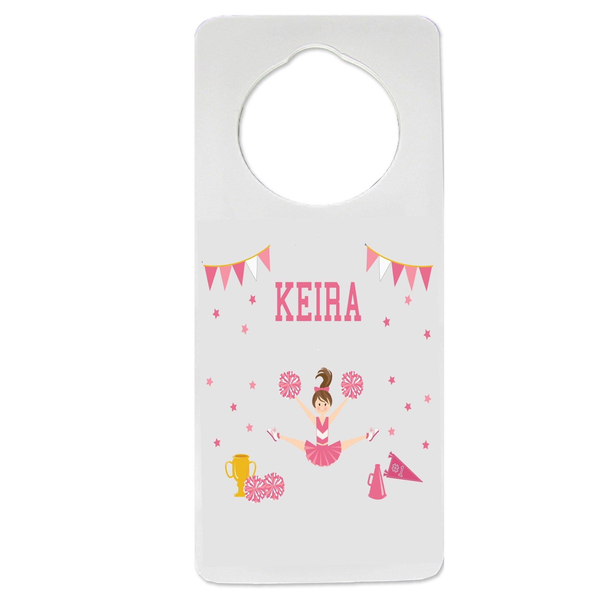 Personalized Cheerleader Brunette Pink Nursery Door Hanger